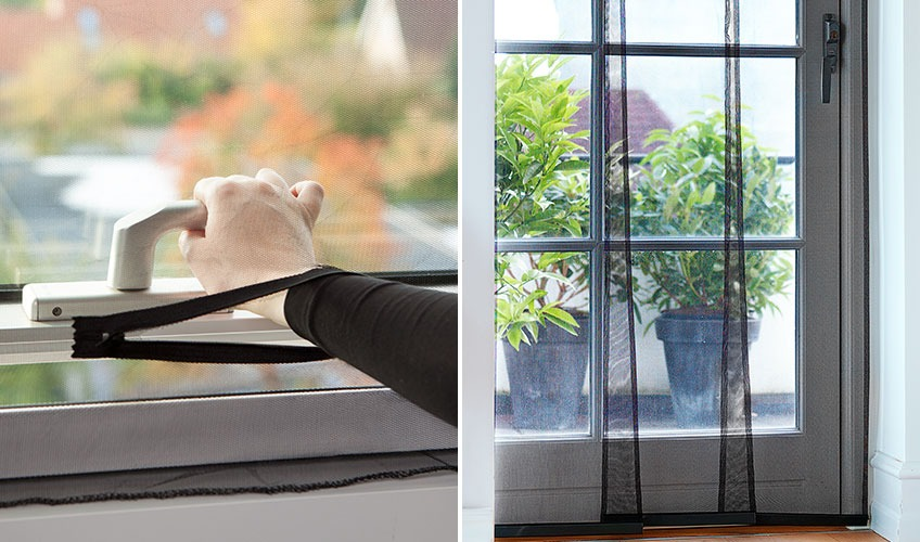 Insect screen that lets you open/close a window and in front of a door