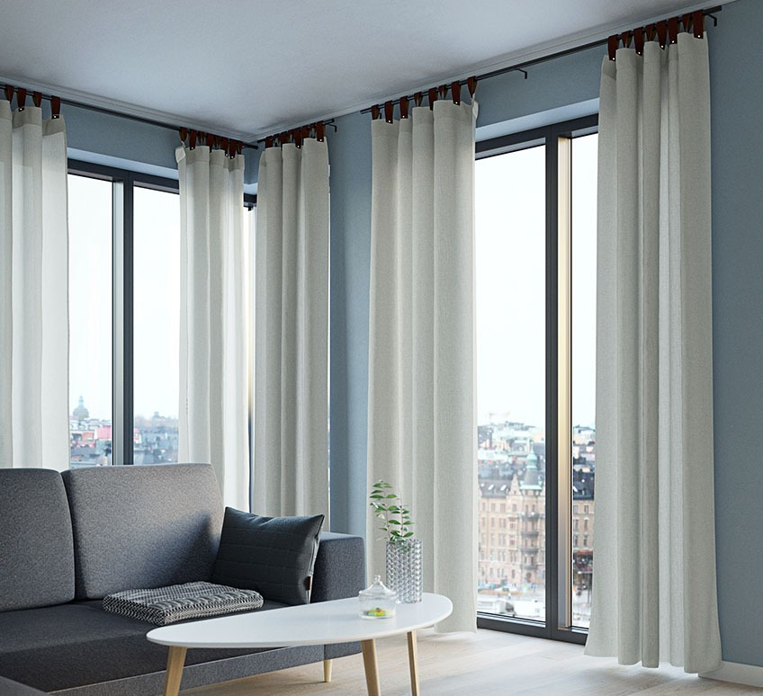 Lightweight curtains in an apartment